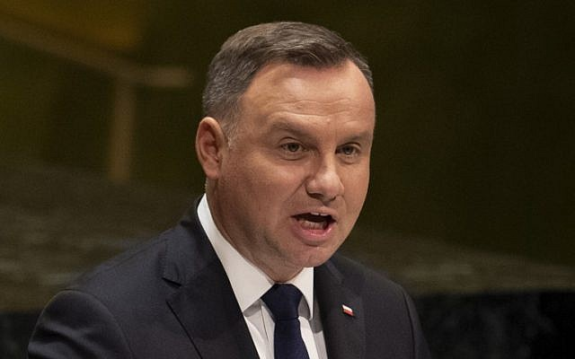Polish President Andrzej Duda speaks during the 74th session of the United Nations General Assembly on September 24, 2019 at the United Nations Headquarters in New York City. (Don Emmert / AFP)