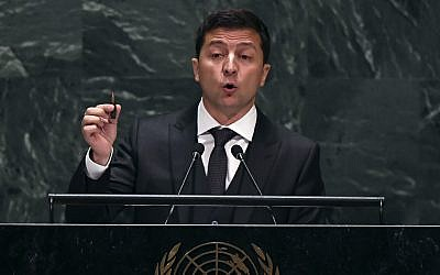 Ukraine President Volodymyr Zelensky speaks during the 74th Session of the United Nations General Assembly on September 25, 2019. (Timothy A. Clark/AFP)