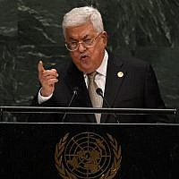 Palestinian Authority President Mahmoud Abbas speaks during the 74th Session of the General Assembly at UN Headquarters in New York on September 26, 2019. (Timothy A. Clark/AFP)