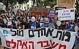 Israeli activists and demonstrators hold placards as they take part in a protest against inaction on climate change in Tel Aviv on September 27, 2019. (Ahmad Ghababli/AFP)