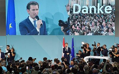 Sebastian Kurz, the leader of Austria's People's party (OeVP), gives a speech during the party's election night event in on September 29, 2019, after the publication of exit polls. (Joe Klamar/AFP)