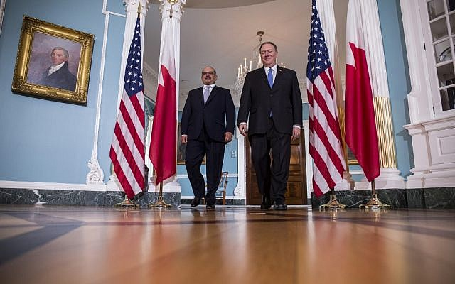US Secretary of State Mike Pompeo (R) arrives with Crown Prince of Bahrain Salman Bin Hamad Al Khalifa at the State Department on September 17, 2019, in Washington, DC. Crown Prince Salman also met with US Secretary of Defense Mark Esper.  (Zach Gibson/Getty Images/AFP)