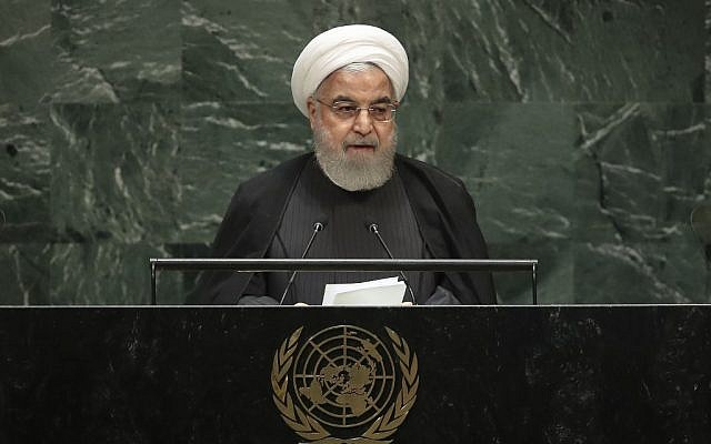 Iranian President Hassan Rouhani addresses the United Nations General Assembly at UN headquarters in New York on September 25, 2019. (Drew Angerer/Getty Images/AFP)