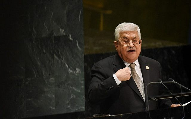 Palestinian Authority President Mahmoud Abbas speaks at the 74th United Nations General Assembly at United Nations Headquarters on September 26, 2019 in New York City. (Stephanie Keith/Getty Images/AFP)