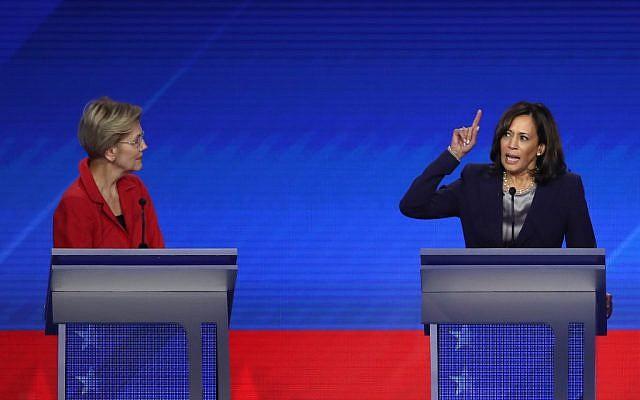 Democratic presidential candidate Sen. Elizabeth Warren (D-MA) looks on as Sen. Kamala Harris (D-CA) speaks during the Democratic Presidential Debate at Texas Southern University on September 12, 2019 in Houston, Texas. (Win McNamee/Getty Images/AFP)