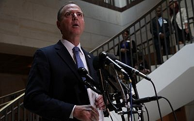 Committee Chairman Rep. Adam Schiff (D-CA) speaks to members of the media after Intelligence Community Inspector General Michael Atkinson met behind closed doors with the House Intelligence Committee at the US Capitol September 19, 2019 in Washington, DC. (Alex Wong/Getty Images/AFP)