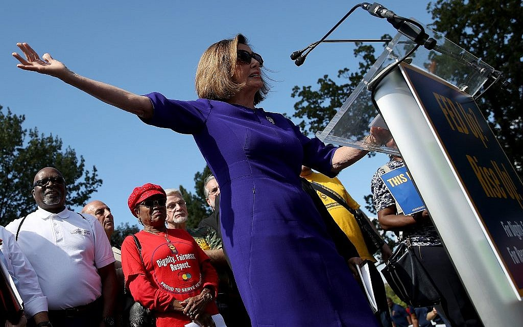 US House Speaker Nancy Pelosi (D-CA) speaks at a labor rally held by the AFL-CIO for government employees outside the U.S. Capitol September 24, 2019 in Washington, DC. (Win McNamee/Getty Images/AFP)