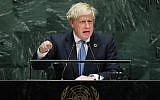 British Prime Minister Boris Johnson speaks at the 74th United Nations General Assembly on September 24, 2019 in New York City (Spencer Platt/Getty Images/AFP)