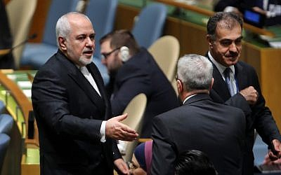 Iranian Foreign Affairs Minister Mohammad Javad Zarif attends the 74th United Nations General Assembly on September 25, 2019 in New York City. (Spencer Platt/Getty Images/AFP)