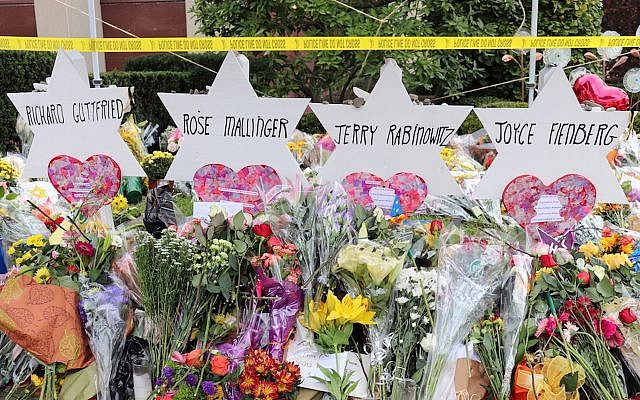 A memorial for the victims of the Tree of Life synagogue shooting in Pittsburgh. (Hane Grace Yagel via JTA)