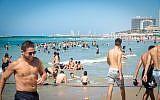 Israelis enjoy the Tel Aviv beach on Election Day, September 17, 2019. (Luke Tress/Times of Israel)