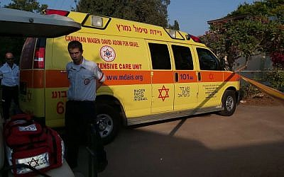 Illustrative: Medics at the scene of a drowning at Kibbutz Yifat in August 2019. (Magen David Adom)