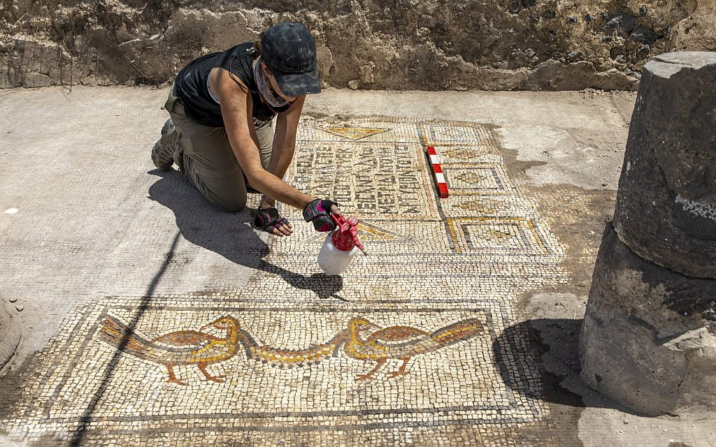 Area supervisor Jessica Rentz cleans a mosaic at the 'Burnt Church' at the Hippos-Sussita Excavation Project at the Susita National Park, summer 2019. (courtesy)