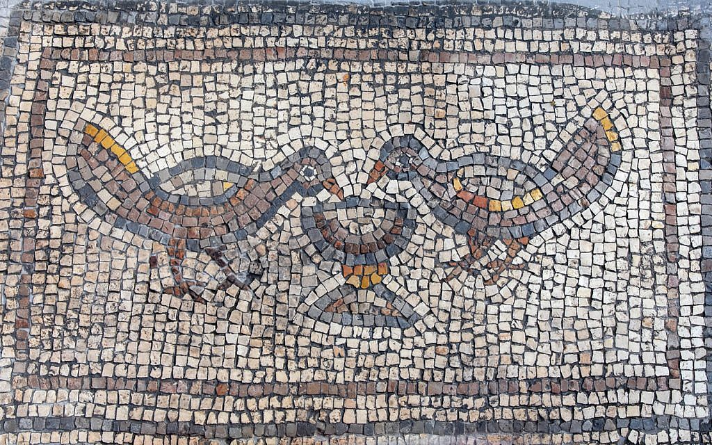 Detail from a mosaic at the 'Burnt Church' at the Hippos-Sussita Excavation Project at the Susita National Park, summer 2019. (courtesy)