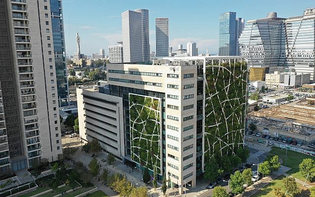 Check Point's Tel Aviv headquarters, reconfigured and designed to promote sustainability, featured in 'Solar Guerrilla,' a Tel Aviv Museum of Art exhibit, open through December 15, 2019 (Courtesy Check Point)