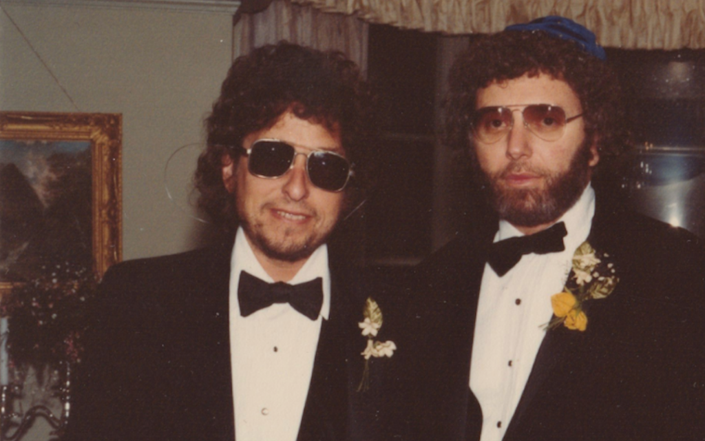Bob Dylan, left, was the best man at his friend Louie Kemp's wedding. (Courtesy of Louis Kemp/via JTA)