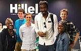 Amar'e Stoudemire, tallest, is leading an initiative to connect Jewish and African-American students at Florida International University. (Courtesy of FIU Hillel via JTA)