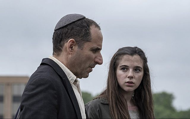 Peter Jacobson portrays a rabbi and Alexa Nisenson plays a girl who seeks shelter at his synagogue in 'Fear the Walking Dead.' (AMC/via JTA)