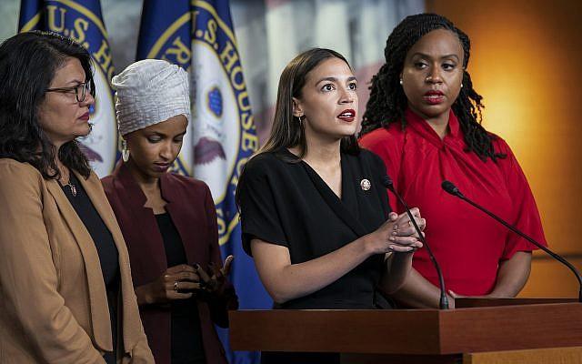 From left: Rep. Rashida Tlaib, D-Mich., Rep. Ilhan Omar, D-Minn., Rep. Alexandria Ocasio-Cortez, D-N.Y., and Rep. Ayanna Pressley, D-Mass., speak at the Capitol in Washington, July 15, 2019 (AP Photo/J. Scott Applewhite, File)