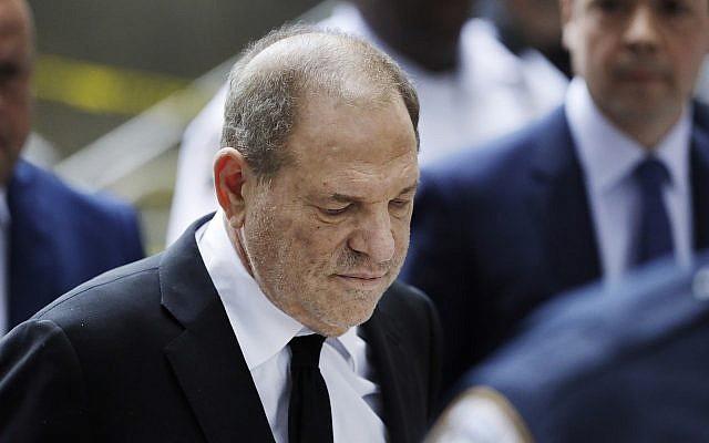 Harvey Weinstein arrives in court in New York, August 26, 2019. (Mark Lennihan/AP)