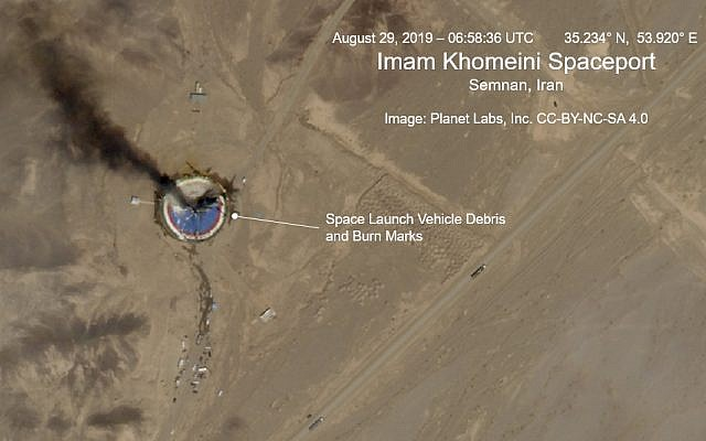 This satellite image from Planet Labs Inc., that has been annotated by experts at the James Martin Center for Nonproliferation Studies at Middlebury Institute of International Studies, shows a fire at a rocket launch pad at the Imam Khomeini Space Center in Iran's Semnan province, August 29, 2019. (Planet Labs Inc, Middlebury Institute of International Studies via AP)
