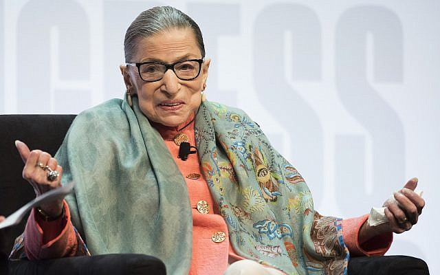 Supreme Court Associate Justice Ruth Bader Ginsburg speaks at the Library of Congress National Book Festival in Washington, August 31, 2019. (AP Photo/Cliff Owen)