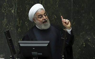 Iranian President Hassan Rouhani speaks at a session of parliament to debate his proposed tourism and education ministers, in Tehran, Iran, September 3, 2019. (AP Photo/Vahid Salemi)