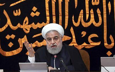 Iranian President Hassan Rouhani speaks in a cabinet meeting in Tehran, Iran, September 4, 2019. (Iranian Presidency Office via AP)