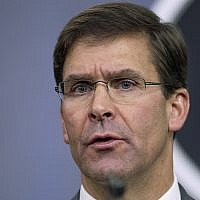 In this photo from August 28, 2019, US Defense Secretary Mark Esper speaks to reporters during a briefing at the Pentagon. (AP Photo/Manuel Balce Ceneta, File)