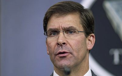 Mark Esper | The Times of Israel