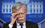 National security adviser John Bolton speaks to reporters during the daily press briefing in the Brady press briefing room at the White House in Washington, November 27, 2018. (Manuel Balce Ceneta/AP)