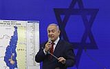 Prime Minister Benjamin Netanyahu speaks during a press conference in Tel Aviv, Israel, September 10, 2019. Netanyahu vowed to annex the Jordan Valley and, later, all West Bank settlements if he wins national elections. (AP Photo/Oded Balilty)