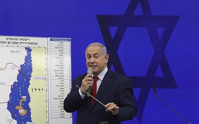 Prime Minister Benjamin Netanyahu speaks during a press conference in Tel Aviv, Israel, September 10, 2019. Netanyahu vowed to annex the Jordan Valley and, later, all West Bank settlements if he won the national elections the following week. (AP Photo/Oded Balilty)