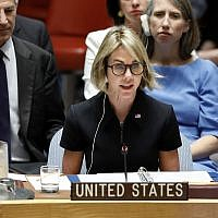 New US Ambassador Kelly Craft addresses her first Security Council meeting, at United Nations headquarters, Thursday, Sept. 12, 2019. (AP Photo/Richard Drew)