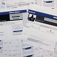 Pages from a confidential whistleblower's report obtained by The Associated Press, along with two printed Facebook pages that were active on September 17, 2019, are photographed in Washington. (AP Photo/Jon Elswick)