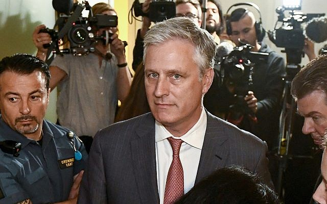 In this July 30, 2019, file photo, Robert O'Brien, US Special Envoy Ambassador, arrives at the district court where U.S. rapper A$AP Rocky is to appear on charges of assault, in Stockholm, Sweden. (Erik Simander/TT via AP)