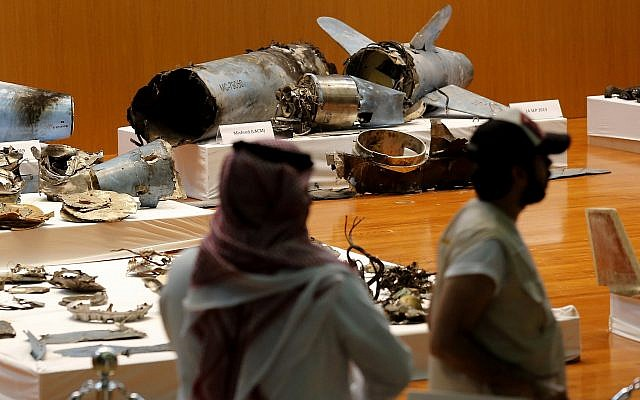 The Saudi military displays what they say are an Iranian cruise missile and drones used in recent attack on its oil industry at Saudi Aramco's facilities in Abqaiq and Khurais, during a press conference in Riyadh, Saudi Arabia, September 18, 2019. (Amr Nabil/AP)