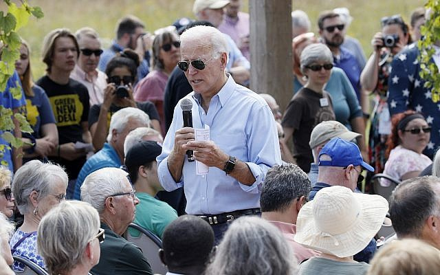 Democratic presidential candidate and former vice president Joe Biden speaks during a town hall meeting at the Indian Creek Nature Preserve, September 20, 2019, in Cedar Rapids, Iowa. (AP Photo/Charlie Neibergall)