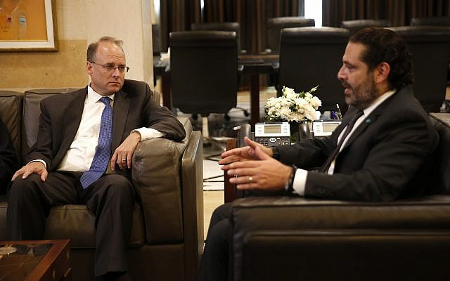 Treasury Assistant Secretary for Terrorist Financing, Marshall Billingslea, left, meets with Lebanese Prime Minister Saad Hariri, in Beirut, Lebanon, on September. 23, 2019. (AP Photo/ Hussein Malla)