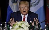 US President Donald Trump speaks at a multilateral meeting on Venezuela at the InterContinental New York Barclay hotel during the United Nations General Assembly, September 25, 2019, in New York. (AP Photo/Evan Vucci)