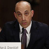 Jonathan Greenblatt, CEO and National Director of the Anti-Defamation League, speaks on Capitol Hill in Washington, May 2, 2017. (Carolyn Kaster/AP)