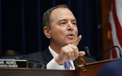 House Intelligence Committee Chairman Rep. Adam Schiff, a California Democrat, questions Acting Director of National Intelligence Joseph Maguire as he testifies before the House Intelligence Committee on Capitol Hill in Washington, September 26, 2019. (AP Photo/Pablo Martinez Monsivais)