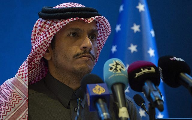 Qatari Foreign Minister Sheikh Mohammed bin Abdulrahman al-Thani at a joint press conference with US Secretary of State Mike Pompeo in Doha, Qatar, January 13, 2019. (Andrew Caballero-Reynolds/Pool via AP)
