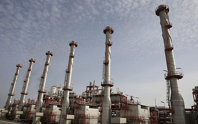 Illustrative: This March 16, 2019, photo shows a natural gas refinery at the South Pars gas field on the northern coast of the Persian Gulf, in Asaluyeh, Iran. (AP Photo/Vahid Salemi)
