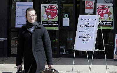 Signs about measles and the measles vaccine are displayed at the Rockland County Health Department in Pomona, New York., March 27, 2019. (Seth Wenig/AP)