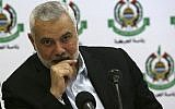 Hamas leader Ismail Haniyeh attends a meeting with foreign reporters at al-Mat'haf hotel in Gaza City, June 20, 2019. (AP Photo/ Adel Hana)