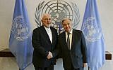 Iranian Foreign Minister Mohammad Javad Zarif, left, shakes hands with UN Secretary General Antonio Guterres at United Nations headquarters July 18, 2019. (AP Photo/Frank Franklin II)