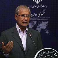 Iran's government spokesman Ali Rabiei speaks at a regular news briefing, on July 22, 2019. (AP Photo/Vahid Salemi)