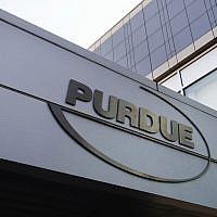 This May 8, 2007, photo shows the Purdue Pharma logo at its offices in Stamford, Connecticut. (AP Photo/Douglas Healey, File)
