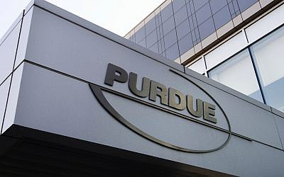 This Tuesday, May 8, 2007, file photo shows the Purdue Pharma logo at its offices in Stamford, Conn. Arizona's attorney general is asking the U.S. Supreme Court to force the Sackler family, which owns OxyContin-maker Purdue Pharma, to return billions of dollars they took out of the company (AP Photo/Douglas Healey, File)
